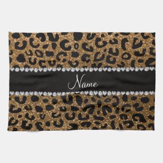 Custom name gold glitter cheetah print tea towel