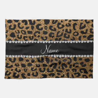 Custom name gold glitter cheetah print towels