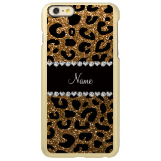 Custom name gold glitter leopard print