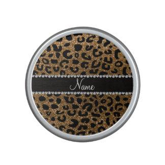 Custom name gold glitter leopard print bluetooth speaker