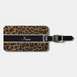 Custom name gold glitter leopard print luggage tag