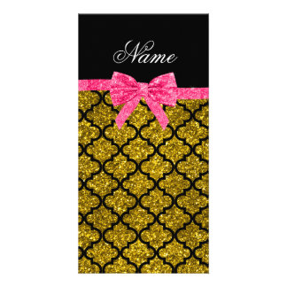 Custom name gold glitter moroccan pink bow personalized photo card