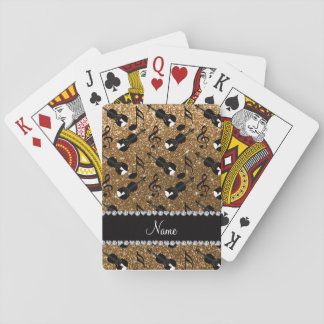 Custom name gold glitter violins music notes playing cards