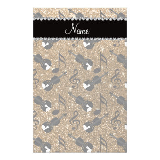 Custom name gold glitter violins music notes stationery paper