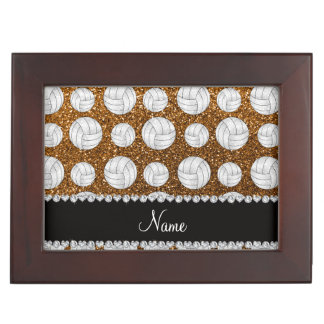 Custom name gold glitter volleyballs memory boxes