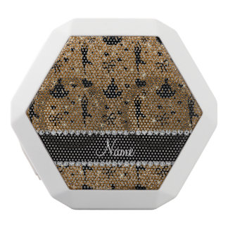 Custom name gold glitter yoga hearts bows white boombot rex bluetooth speaker