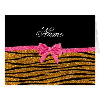 Custom name gold glitter zebra stripes pink bow card