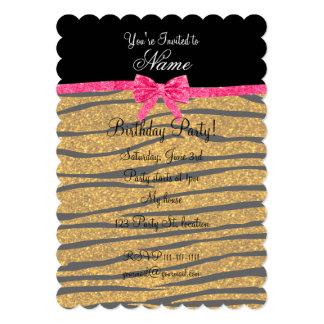 "Custom name gold glitter zebra stripes pink bow 5"" x 7"" invitation card"