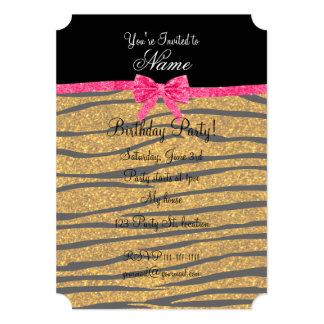 Custom name gold glitter zebra stripes pink bow 5x7 paper invitation card