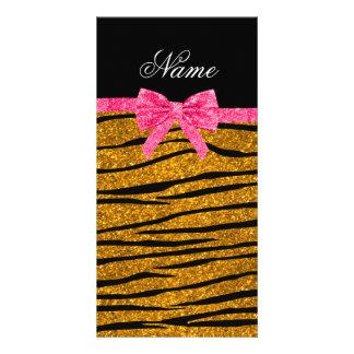 Custom name gold glitter zebra stripes pink bow custom photo card