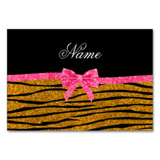 Custom name gold glitter zebra stripes pink bow table card
