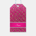 Custom name gold neon hot pink glitter moroccan gift tags