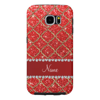 Custom name gold neon red glitter moroccan samsung galaxy s6 cases