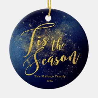 Custom Name | Gold Riddled Midnight Sky Christmas Christmas Ornament