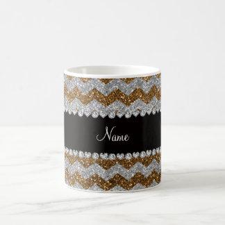 Custom name gold silver glitter chevrons coffee mugs