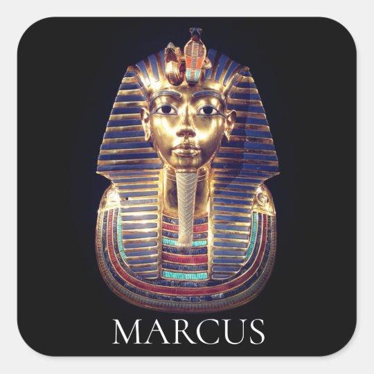 Custom Name Gold Tutankhamun Pharaoh Mask Sticker