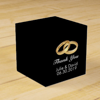 Custom Name Gold Wedding Rings Black Favour Box