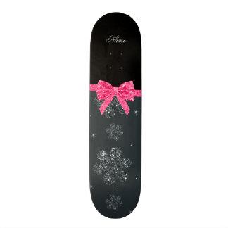 Custom name gray glitter flowers pink glitter bow skate boards