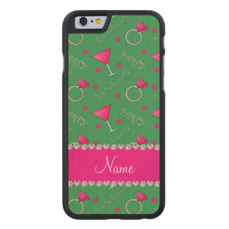 Custom name green bachelorette cocktails rings carved® maple iPhone 6 case