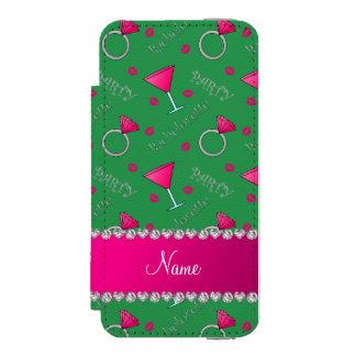 Custom name green bachelorette cocktails rings incipio watson™ iPhone 5 wallet case