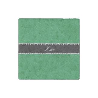 Custom name green ballet shoes stone magnet