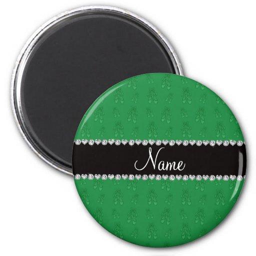 Custom name green ballet shoes magnets