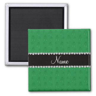 Custom name green ballet shoes refrigerator magnet