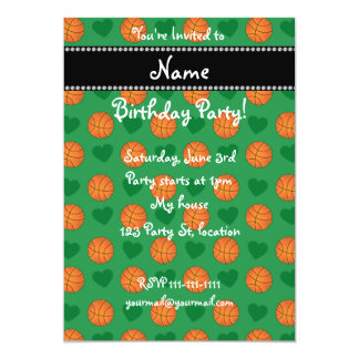 Custom name green basketballs and hearts 13 cm x 18 cm invitation card