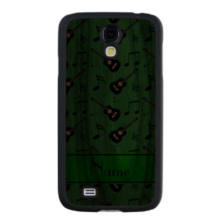 Custom name green black guitars music notes carved® walnut galaxy s4 slim case