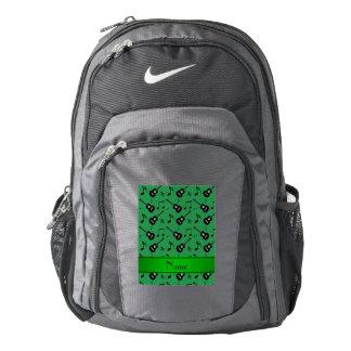 Custom name green black guitars music notes backpack