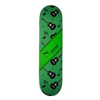 Custom name green black guitars music notes skate boards