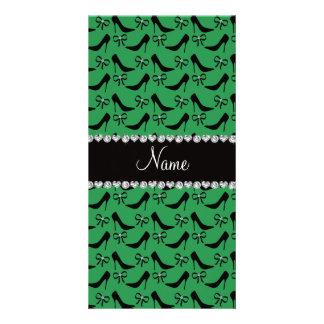 Custom name green black high heels bow diamond customized photo card