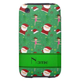 Custom name green christmas gymnastics santas iPhone 3 tough cases