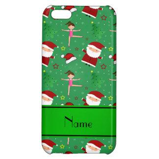 Custom name green christmas gymnastics santas iPhone 5C cases