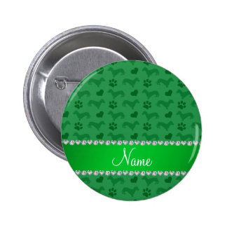 Custom name green dachshunds hearts paws pinback buttons