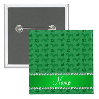 Custom name green dachshunds hearts paws button