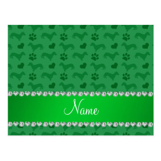 Custom name green dachshunds hearts paws post card