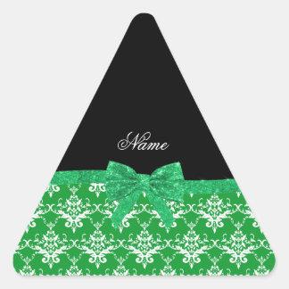 Custom name green damask glitter bow sticker