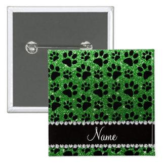 Custom name green glitter black dog paws pin