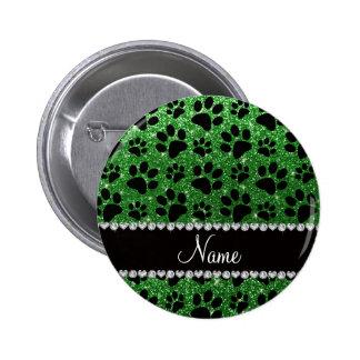 Custom name green glitter black dog paws pins