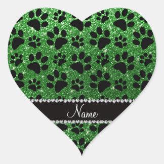 Custom name green glitter black dog paws heart sticker