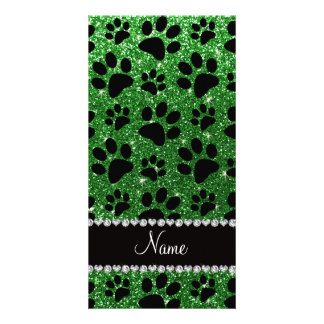 Custom name green glitter black dog paws personalized photo card