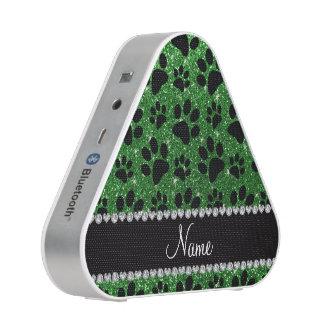 Custom name green glitter black dog paws speaker
