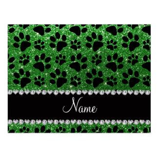 Custom name green glitter black dog paws post card