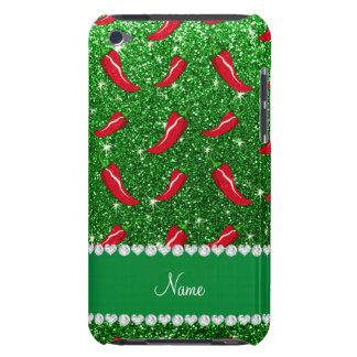 Custom name green glitter chili pepper barely there iPod covers
