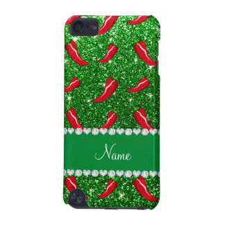 Custom name green glitter chili pepper iPod touch 5G covers