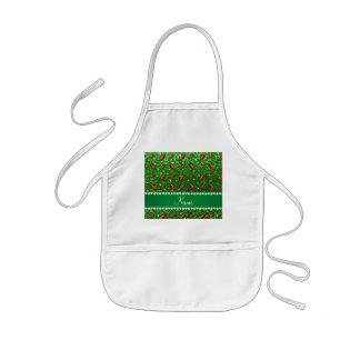 Custom name green glitter chili pepper kids apron