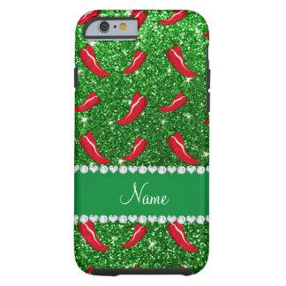 Custom name green glitter chili pepper tough iPhone 6 case