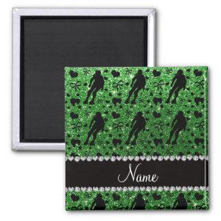 Custom name green glitter roller derby square magnet