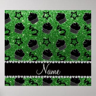 Custom name green glitter stars cupcakes poster